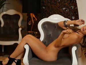 Classy Gia Ramey Gay introducing her perfect shapes. Amazing classy brunette beauty Gia Ramey Gay with perfect boobs and shaved pussy wearing fancy lingerie with high heels takes off her bar and panties slowly to introduce her bombastic all natural body